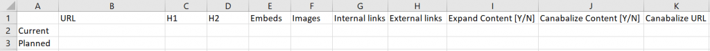 example of SEO content audit on excel