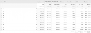 Google analytics example screenshot