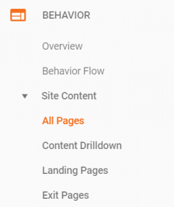 google analytics behaviours for all pages