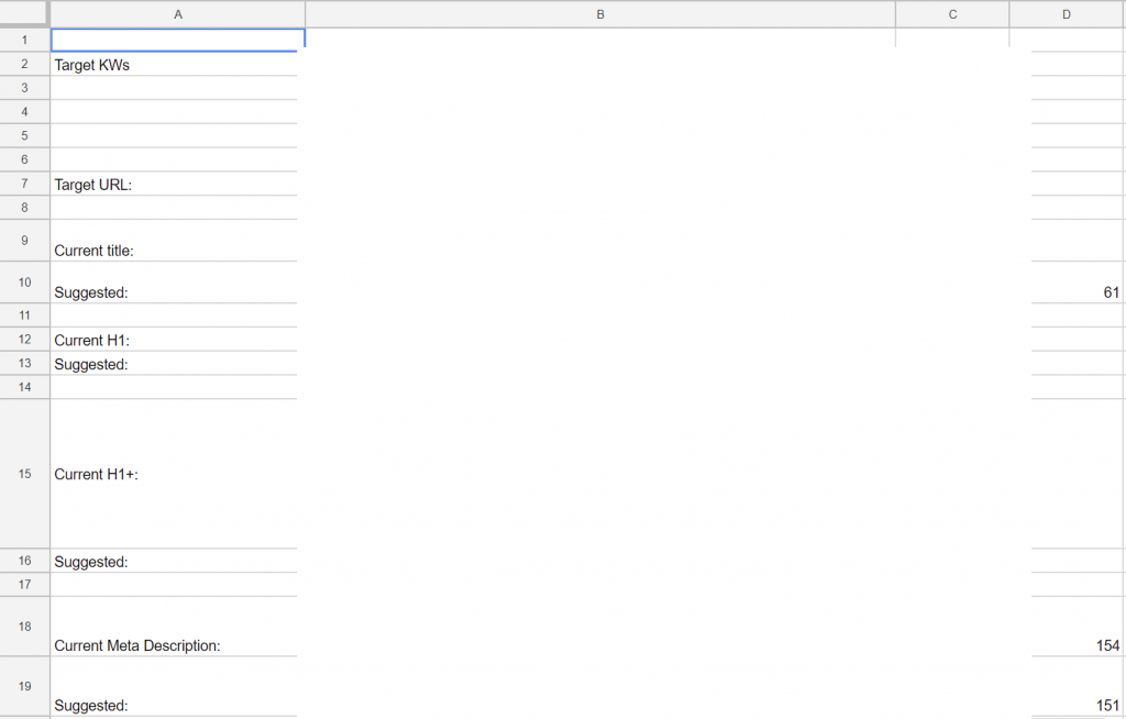 example of SEO spreadsheet