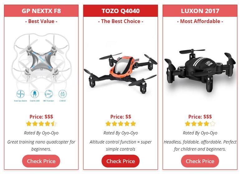 drone comparison table