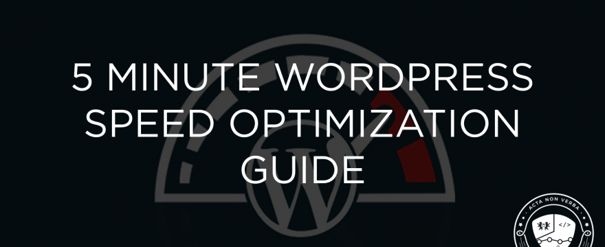 5 Minute WordPress Speed Optimization Guide